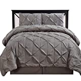 Royal Hotel Oxford Decorative Pinch Pleat Comforter Set, 4 Pieces, Hypoallergenic Comforter, Down Alternative Fill, King, Gray
