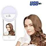 LEDGLE Selfie Ring Light LED Ring Flash Perfect Fill-in Light, Applicable to Various Smart Phones, Soft Clip, Battery Powered, Adjustable Brightness, 36 LED Beads