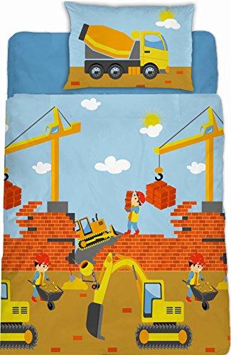 Aminata Kids - süße Jungen-Kinder-Bettwäsche Fein-Biber 100x135 Baustelle Edel-Flanell-Bettwäsche aus hochwertiger Baumwolle Bettwäsche-Kinder mit Bagger Kran und Betonmischer Bauarbeiter -- Kinderbett-Größe
