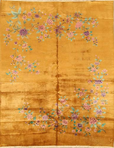 Art Chinese Rug Deco - One-of-A-Kind Art Deco Nichols Floral Transitional Handmade 9x11 Yellow Wool Antique Oriental Area Rug (11' 4