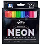 Writeyboard Neon Low Odor Premium Wet Erase Markers Eco-Friendly, 8 Pack