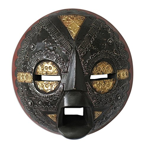 (NOVICA Handcrafted Ghanaian Wood Wall Mask with Aluminum and Brass Accents, Beautiful)