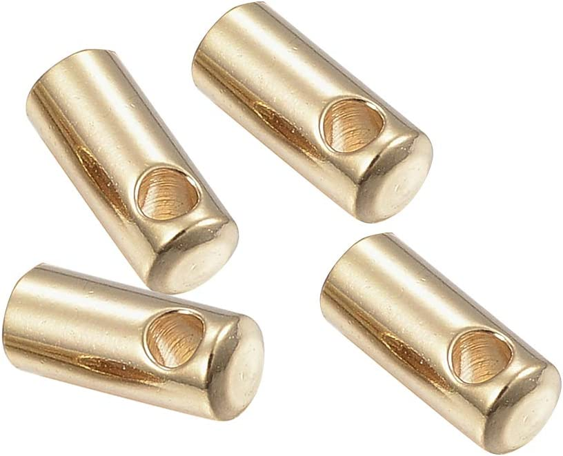 Hole 1.2mm PandaHall About 100pcs 7x2mm Stainless Steel Golden Cord End Caps Column Tube for Leather Rope Necklace Bracelet Buckle,Cord Ends Craft Findings