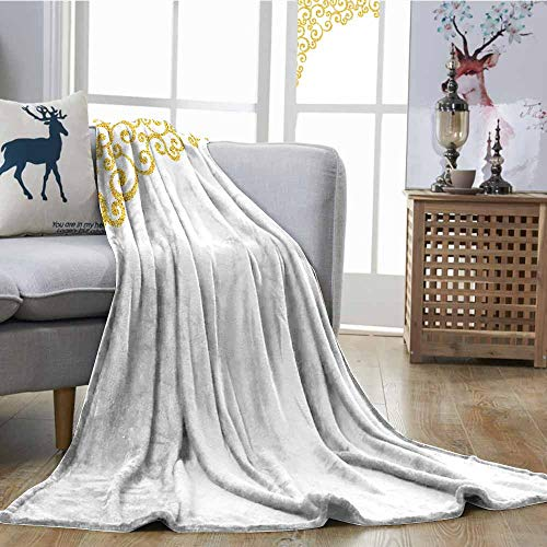SONGDAYONE Polyester Blanket Gold and White Keep Warm for sale  Delivered anywhere in USA