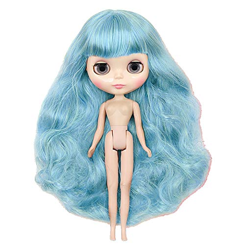 BJD Articulated Girl Doll, Mini Blythe ICY Dolly, Ball Jointed Face Makeup, Cute Dress, Long Wig 4 Colors Changing Big Eyes Different Hands Free To Change Blue Hair Puppe for Adult Collection,Nakeddol