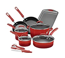 Rachael Ray 14-pc. Hard Enamel Nonstick Cookware Set with Prep Tools Red