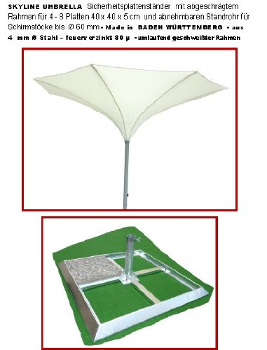 400 cm Ø - SKYLINE TROMPETENFORM UMBRELLA - KURBEL - SONNENSCHIRM - mit SICHERHEITS PLATTENSTÄNDER für Platten 40 x 40 x 5 cm mit SCHRÄGRAHMEN ohne PLATTEN und mit KURBEL abnehmbar - ZANGENBERG - GERMANY - RUND - 400 cm - 8 teilig - Farbe : WEISS - Holly ® Produkte STABIELO ® - holly-sunshade ®