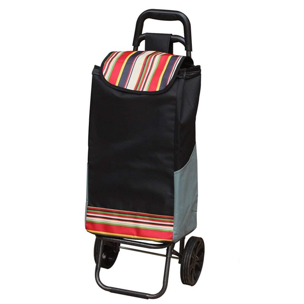 Zehaer Portable Trolley, Hand Truck Shopping Cart Foldable Portable Trailer Old Man's Bag Car Hand Car Cart Waterproof Oxford Cloth Bag Load 35 Kg 2 Wheels (Color : A) (Color : A)