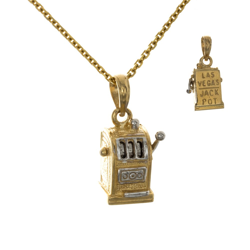 14k Two-Tone Gold Travel Charm Pendant, 3D Slot Machine, Moveable, Las Vegas On Back