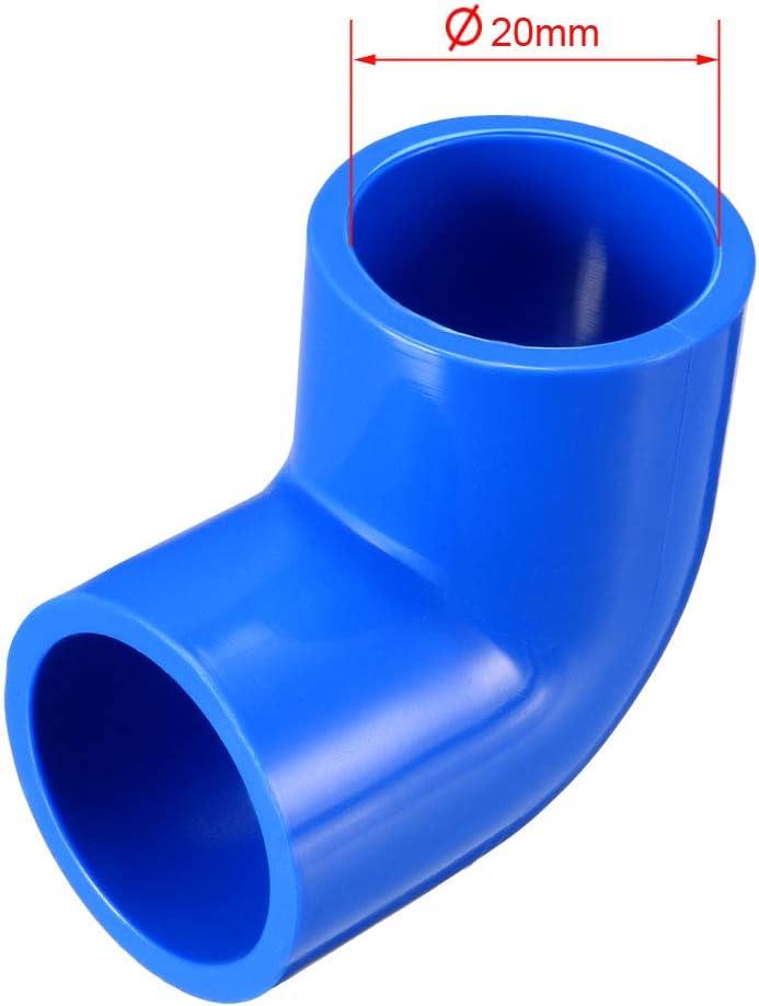 sourcing map 20 mm de deslizamiento 90 grados de instalaci/ón de tuber/ías de pvc codo adaptador azul 5 piezas