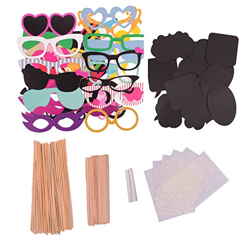 YGDZ Photo Booth Props DIY Kit for Photobooth Dress-up Accessories & Party Favors, Costumes with Mustache on a stick, Hats, Glasses, Mouth, Bowler, Bowties,60PC,Christmas