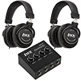 LyxPro Headphone & Amp Kit. Qty of 2 Closed Back Over-Ear Mixing Headphones w/Newest 45mm Neodymium Drivers & 4-Channel Headphone Amp for Home, Studio