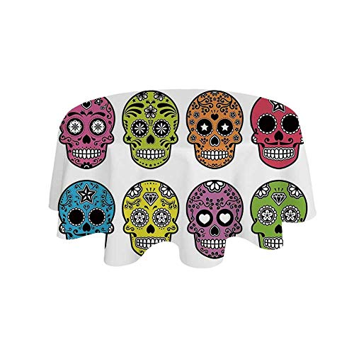 YOLIYANA Skull Waterproof Round Tablecloth,Ornate Colorful Traditional Mexian Halloween Skull Icons Dead Humor Folk Art Print for Living Room,39.3