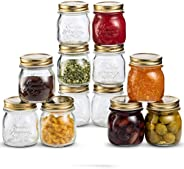 Bormioli Rocco Quattro Stagioni Glass Mason Jars 8.5 Ounce Mini Jars (12-Pack) with Metal Airtight Lid, For Ja