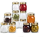 Bormioli Rocco Quattro Stagioni Glass Mason Jars 8.5 Ounce Mini Jars (12-Pack) with Metal Airtight Lid, For Jam, Jelly, baby food, Crafts, Spices, Dry Food Storage, Wedding favors, Decorating Jar