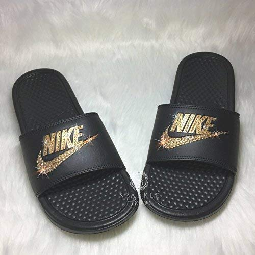 5f546f1e34e5 Amazon.com  Nike Blinged Out Slides for Women - Bling Swarovski Bedazzled  Kicks - NIKE Benassi JDI Slides with Gold Crystals  Handmade