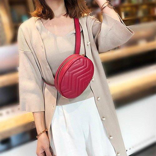 Mujer Bolso Cremallera Negro Ovalado el con para rojo para Hombro Mujer Piel JUNERAIN sintética PqwdgP