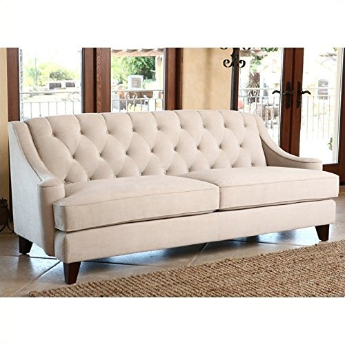 Abbyson Emily Velvet Fabric Tufted Sofa, Beige, used for sale  Delivered anywhere in USA
