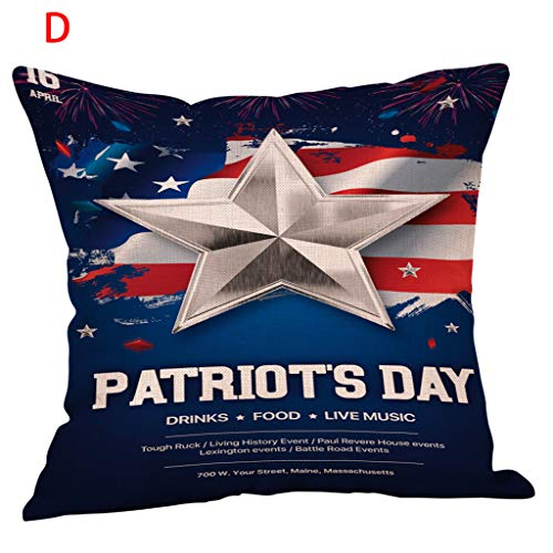 Golike 4th of July Independence Day Throw Pillow Cover Patriotic Pillow Case USA American Flag Cushion Cover Soft Linen ()