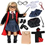 Qunan 18 inch Doll Clothes 11 Pcs Magic Outfits Witchcraft School Uniform Robe Shirt Sweater Skirt Tie Glasses Wand Socks and Shoes for American Doll Girl