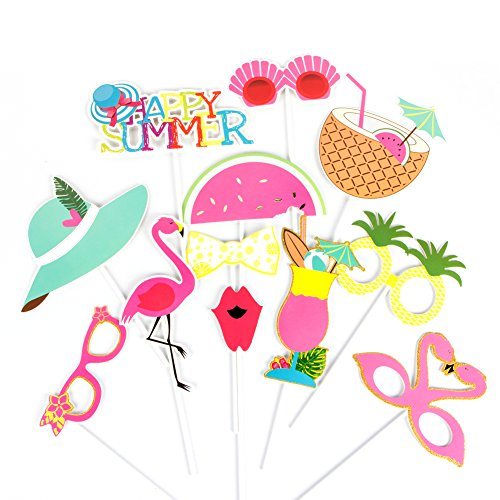 (Summer Party Photo Booth Props Kit Flamingo Pineapple for Tropical Luau Tiki Party Supplies SUNBEAUTY,12)