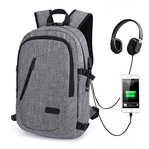 Laptop Backpack,Anti Theft Travel Computer Bag College School Bookbag With USB Charger Port & Headphone Interface Fit 15.6 Inch Laptop Notebook, Business Water Resistent Daypack For Men & Women,Grey (Notebook Portable Lock)