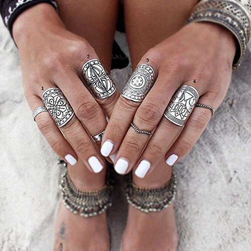 Gigamax(TM) Bohemia Vintage Jewelry Unique Carving Tibetan Silver Plated Ring Set for Woman 4PCS/Set Punk Boho Ring Sets Silver Jewelry