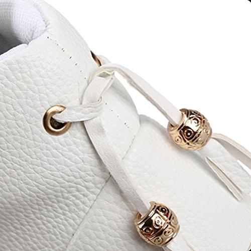 Soleil Lorence Mens Mode Pu Cuir Unique Crâne Décontracté Sneakers Haut Haut Blanc
