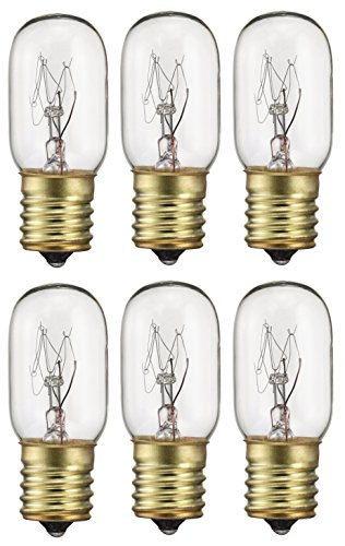 Pack Of 6 40-Watt T8 Tubular Indicator Intermediate (E17) Base 40T8 Incandescen Light (Appliance Light Bulb)