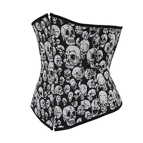 Kranchungel Women's Gothic Skull Crossbone Underbust Corset Punk Burlesque Bustier Top Corsetto Bustino Blanco