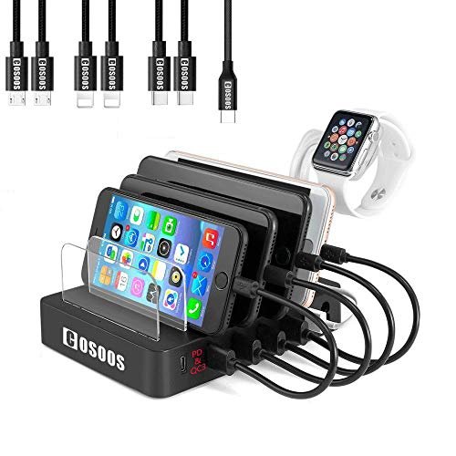 COSOOS 90W Charging Station for Multiple Devices,with Power Delivery PD & QC3, 7 USB Charger Cable(4 Type),lWatch Stand,6-Port USB Charging Station for USB-C Laptop,MacBook Pro/Air,Kindle ()