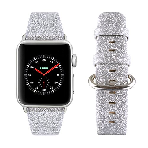 baozai Compatible with Apple Watch Band 42mm 44mm, Smooth Soft Glitter Shiny Leather Band Replacement Bracelets for Apple Watch Series 4 Series 3 Series 2 Series 1 (Silver)