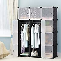 MAGINELS Portable Clothes Closet Modular Plastic Wardrobe Freestanding Storage Organizer with doors, large space and sturdy construction, Black-12 cube