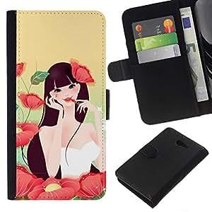 // PHONE CASE GIFT // Moda Estuche Funda de Cuero Billetera Tarjeta de crédito dinero bolsa Cubierta de proteccion Caso Sony Xperia M2 / Girl In Flowers /