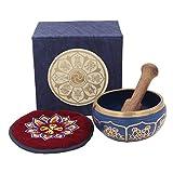 Tibetan Buddhist 8 Lucky Symbols Yoga Meditation Singing Bowl / Rosewood Mallet / Velvet Cushion / Box Gift Set (Navy Blue)