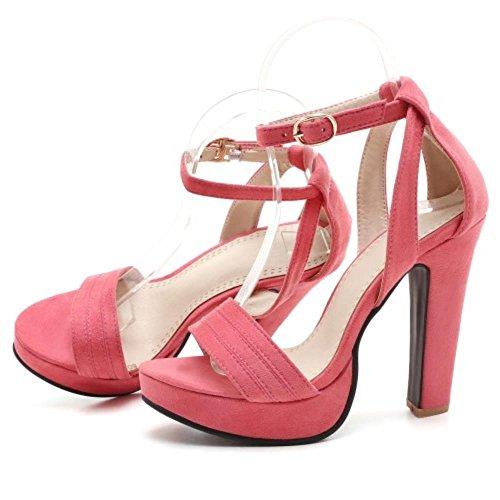 COOLCEPT Zapatos Mujer Moda Tacon Ancho Tacon Alto Al Tobillo Punta Abierta Sandalias Plataforma Rosado