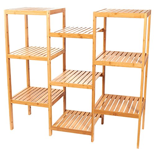 Juvale Multifunctional Bamboo Shelf - Plant Stand - 9-Tier Storage Rack - Customizable, Brown, 38.3 x 35.5 x 13.4 Inches