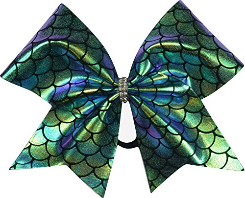 Sparkle Bows Cheer Mermaid Tail Cheer Bow (Purple/Gold Iridescent) - Iridescent Bow