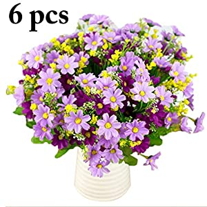 JUSTDOLIFE 6 Branches Artificial Flower 28 Heads Daisy Decorative Faux Flower Fake Flower 7