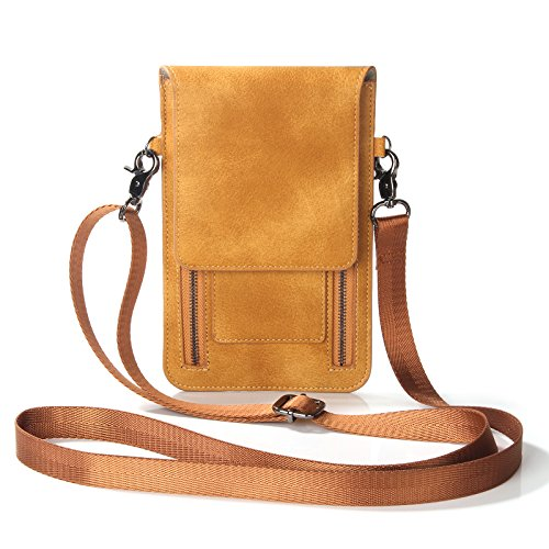 eBuymore Women Girl's Leather Crossbody Bag Wallet Purse Cellphone Pouch w/ Shoulder Strap for iPhone 7 Plus / Samsung Galaxy Note 5 / S7 Edge / Galax J7 / One Plus 3 / BLU R1 HD (Orange)