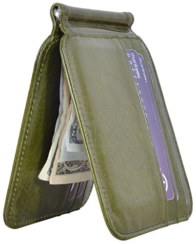 Unique Money Clips - Easyoulife Men's RFID Slim Front Pocket Wallet with Money Clip Genuine Leather(B Style - Army Green)