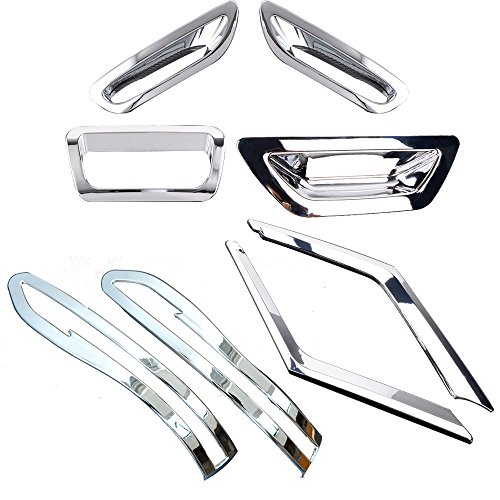 Astra Depot Set Chrome Cover Trim Insert Front Grille/Side Mirror/Rear Fog Lamp Brake Light/Back Door Handle Bowl For 2014 2015 2016 Nissan X-Trail T32 Rogue