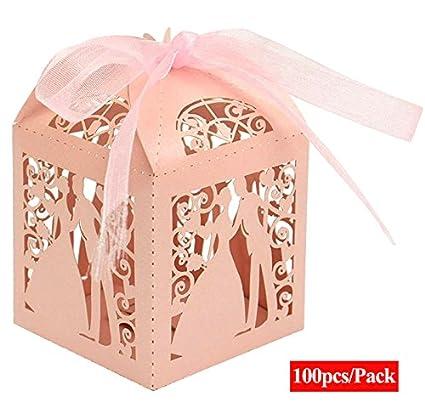 ALPHA DIMA 100 Piezas Caja para Bombones Caramelos Dulces Caja para Regalo con Cintas,Recuerdos