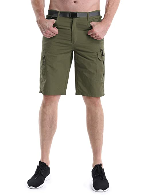3051752f09 OCHENTA Men's Outdoor Water-Resistant Quick Dry Cargo Shorts Army Green  Size L - US