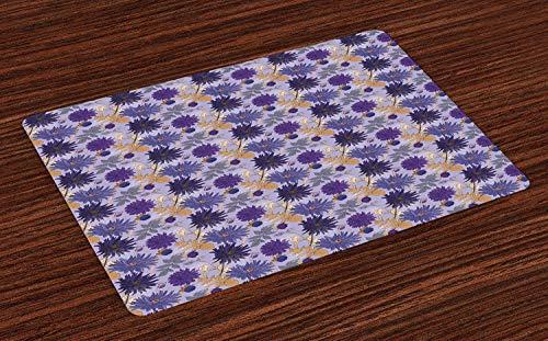 Floral Non-slip Doormats Welcome Mat Accent Area Rug, Romantic Bouquet of Purple Garden Asters Flowers and Wild Herbs Foliage Composition, Indoor Bathroom Mat Shoes Scraper Floor Cover Mat,16'' x 24'' ()
