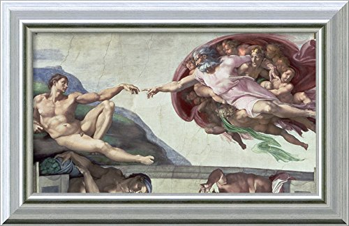 Framed Canvas Wall Art Print | Home Wall Decor Canvas Art | Sistine Chapel Ceiling (1508-12): The Creation of Adam, 1511-12 (Fresco - Post Restoration) by Michelangelo Buonarroti | Modern ()