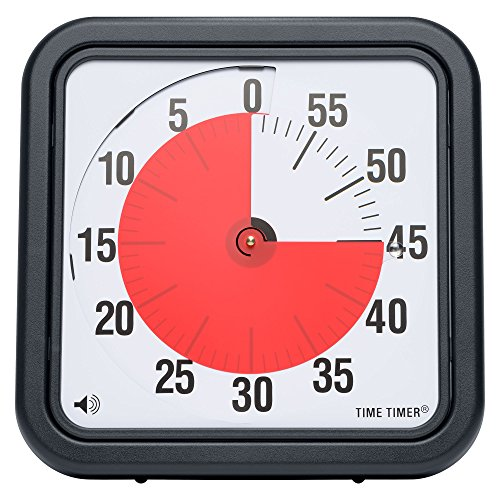 Time Timer Original 12 inch; 60 Minute Visual Timer – Classroom Or Meeting Countdown Clock for Kids and Adults (Charcoal) (Classroom Timer)