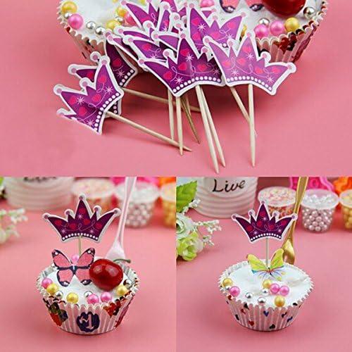 Bluelover 12Pcs/Pack Papel Pastel De Cumpleaños Cumpleaños Partido Magdalena Alimentos Recoge Toppers Pastel Decoración Corona: Amazon.es: Hogar