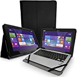 iGadgitz Premium Black PU Leather Folio Case Cover for Asus Transformer Book T200TA 11.6'' with Multi-Angle Viewing Stand + Auto Sleep/Wake + Stylus Pen Elastic Holder + Screen Protector