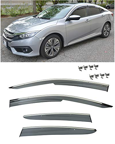 Extreme Online Store for 2016-Present Honda Civic X 4Dr Sedan Models | EOS Visors Mugen Clip-On Style JDM Smoke Tinted Chrome Trim Side Window Deflectors Rain Guard